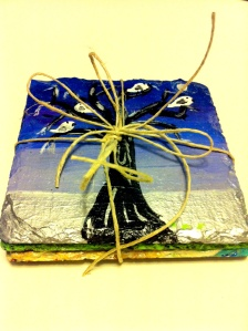 Slate Hand painted Coasters-4 Seasons-on Etsy for sale